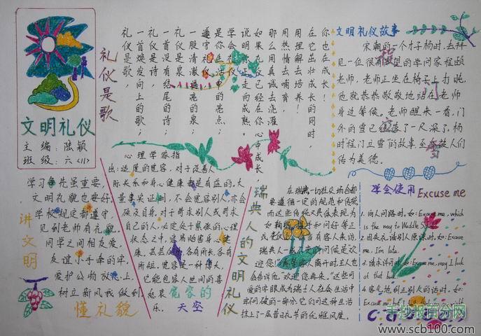 文明礼仪手抄报花边边框图片