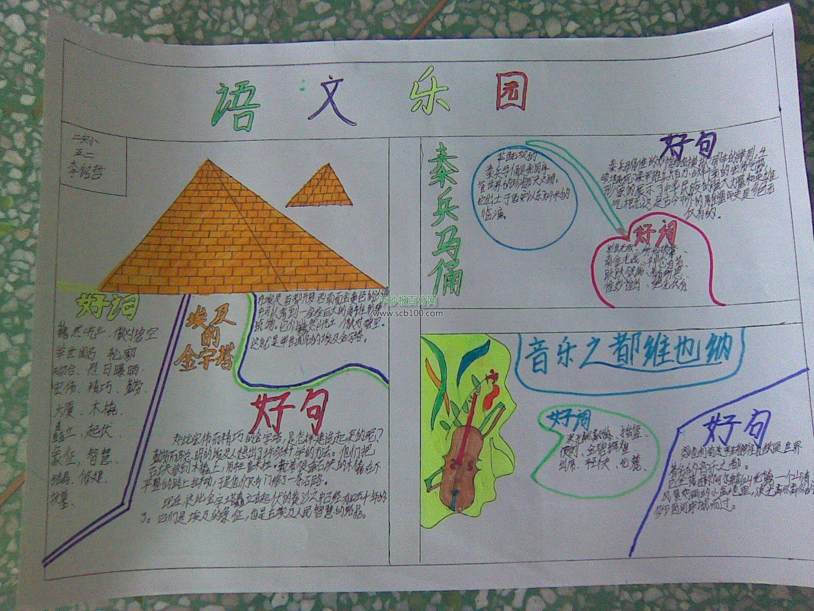 五年级语文手抄报版面设计图