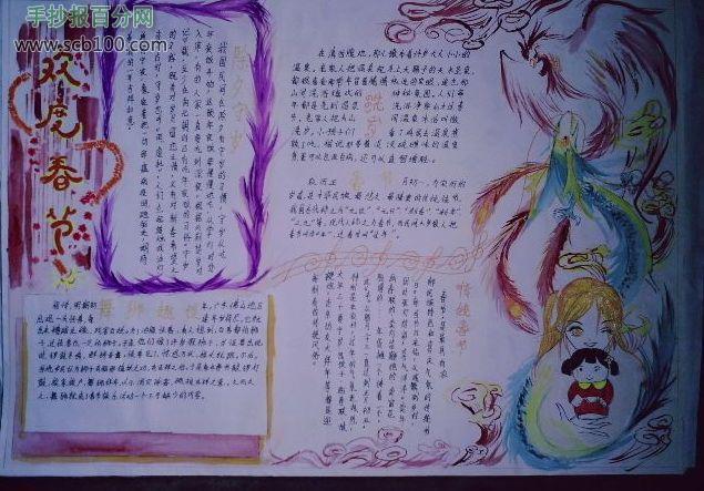 春节小报版面设计 春节小报a4版面设计 春节小报a3版面设计