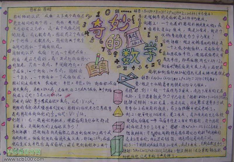 初中数学手抄报图片 奇妙的数学 小学五年级的数学的手抄报